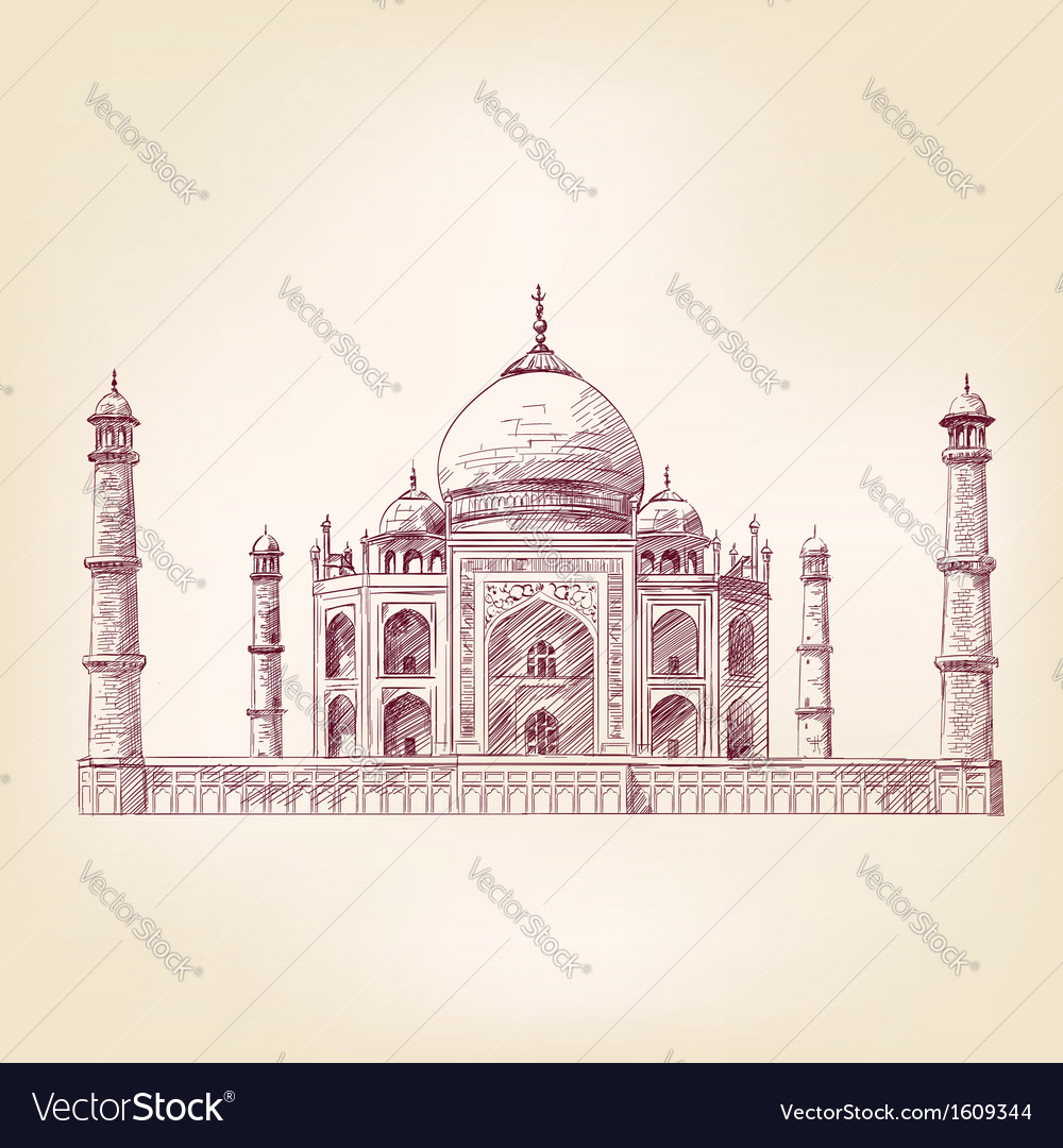 Taj mahal india vector | Price: 1 Credit (USD $1)