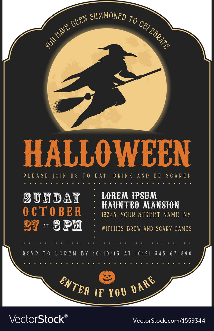 Vintage halloween invitation with flying witch vector | Price: 1 Credit (USD $1)
