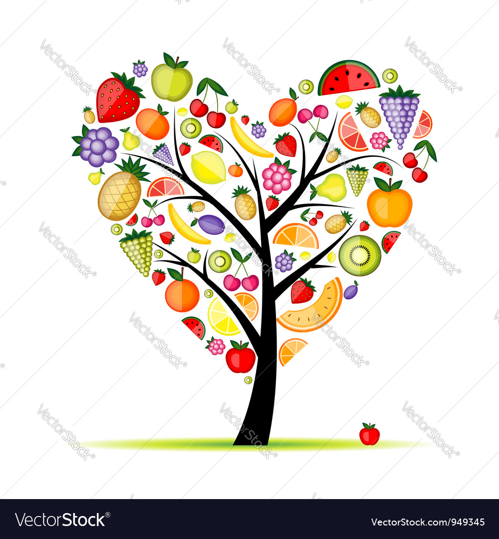 Energy fruit tree heart shape for your design vector | Price: 1 Credit (USD $1)