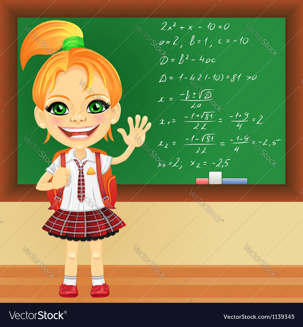 Girl in a school uniform near blackboard vector | Price: 1 Credit (USD $1)