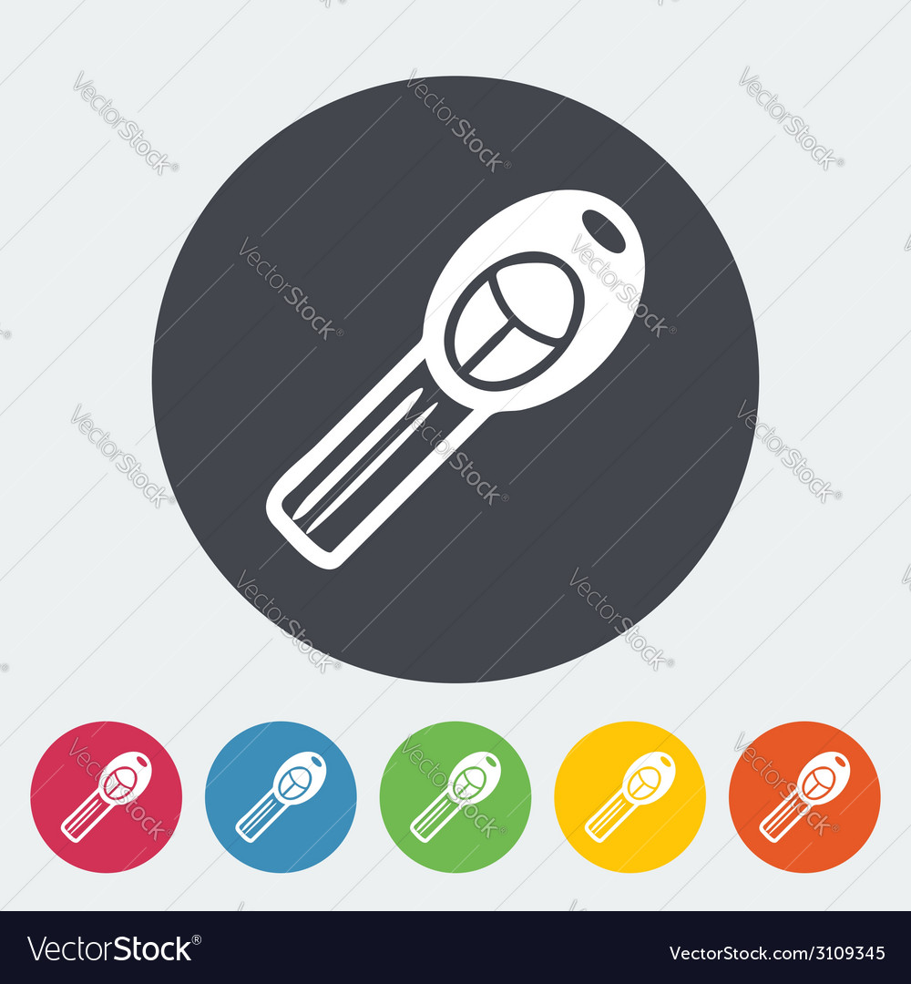 Ignition key single icon vector | Price: 1 Credit (USD $1)