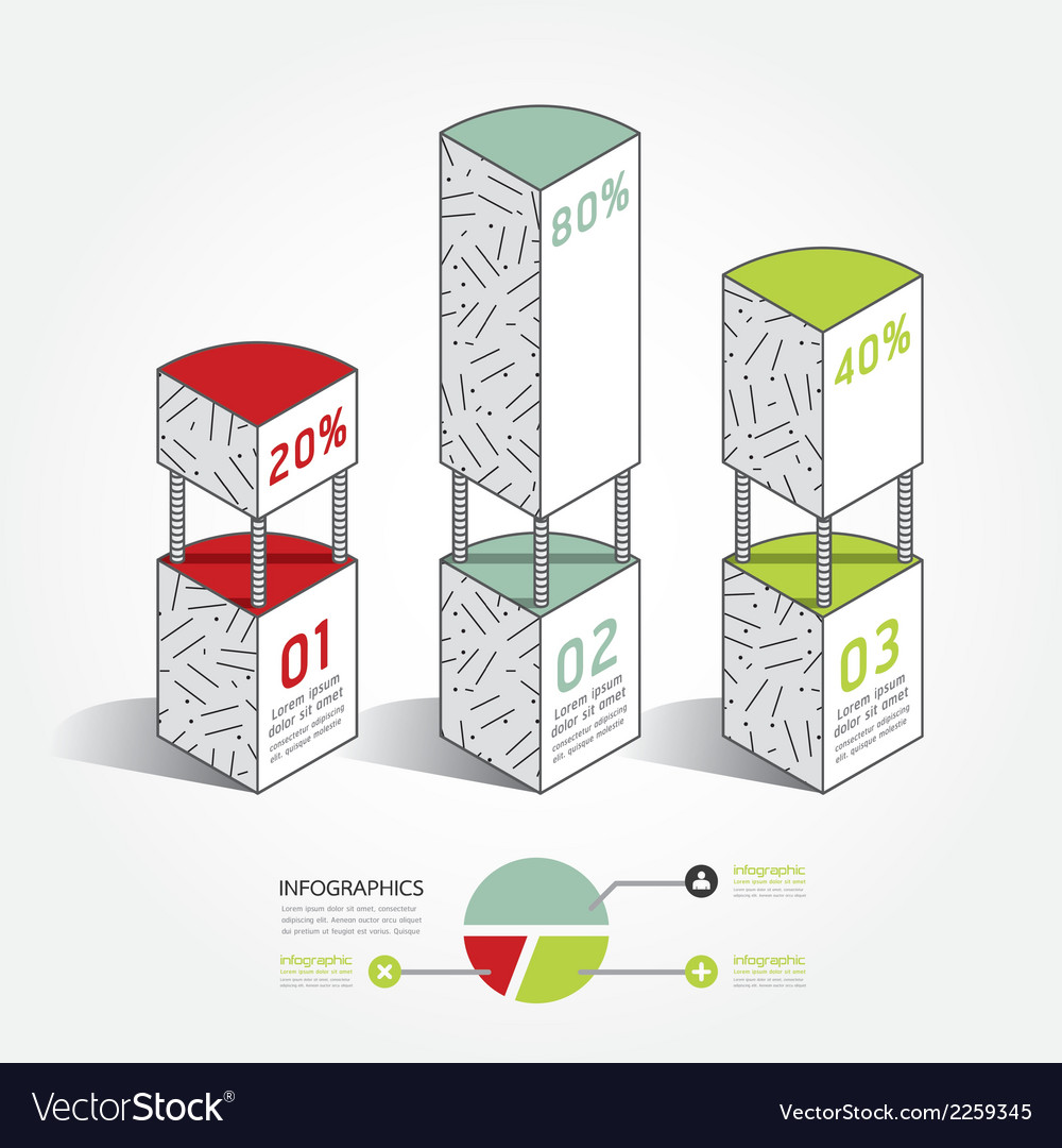 Infographic template modern architecture line box vector | Price: 1 Credit (USD $1)