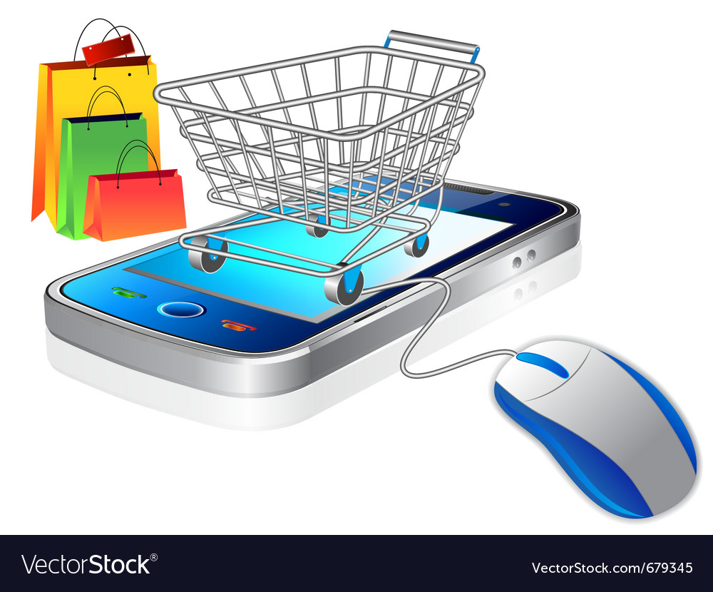 Mobile and shopping cart vector | Price: 3 Credit (USD $3)