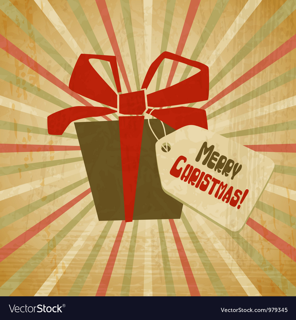 Retro christmas present card vector   Price: 1 Credit (USD $1)