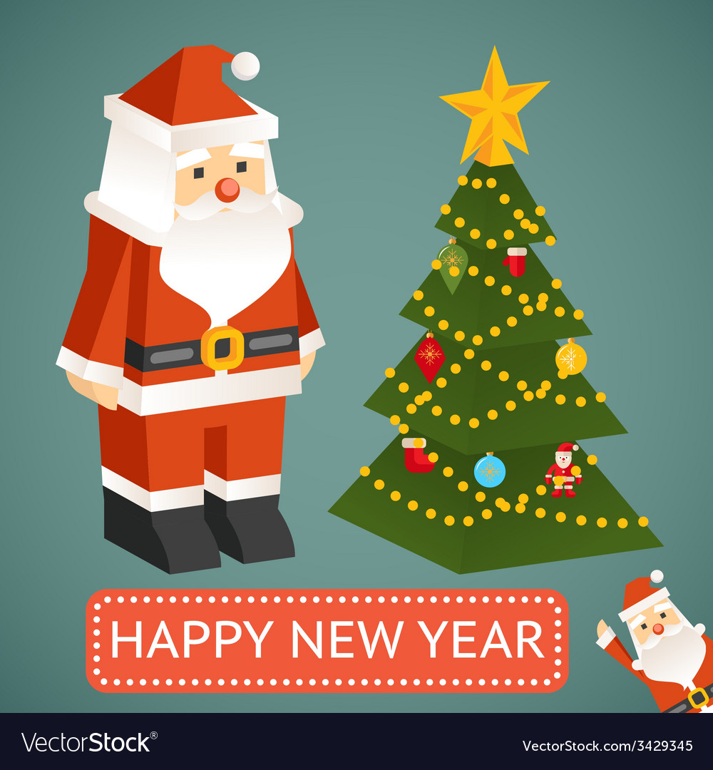 Santa claus and christmas tree icons vector | Price: 1 Credit (USD $1)