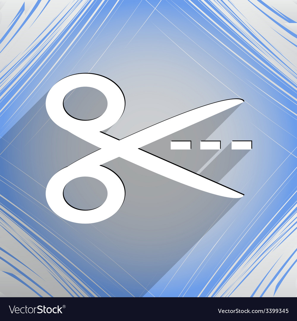 Scissors cut dash dotted line icon symbol flat vector | Price: 1 Credit (USD $1)