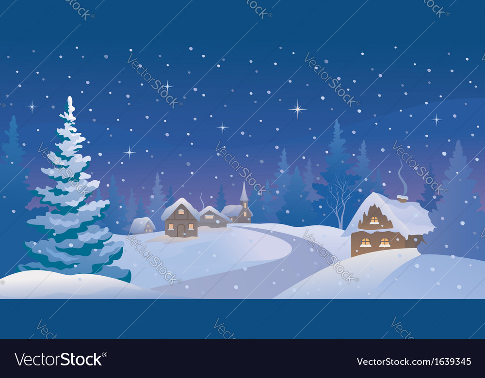 Winter night village vector | Price: 1 Credit (USD $1)