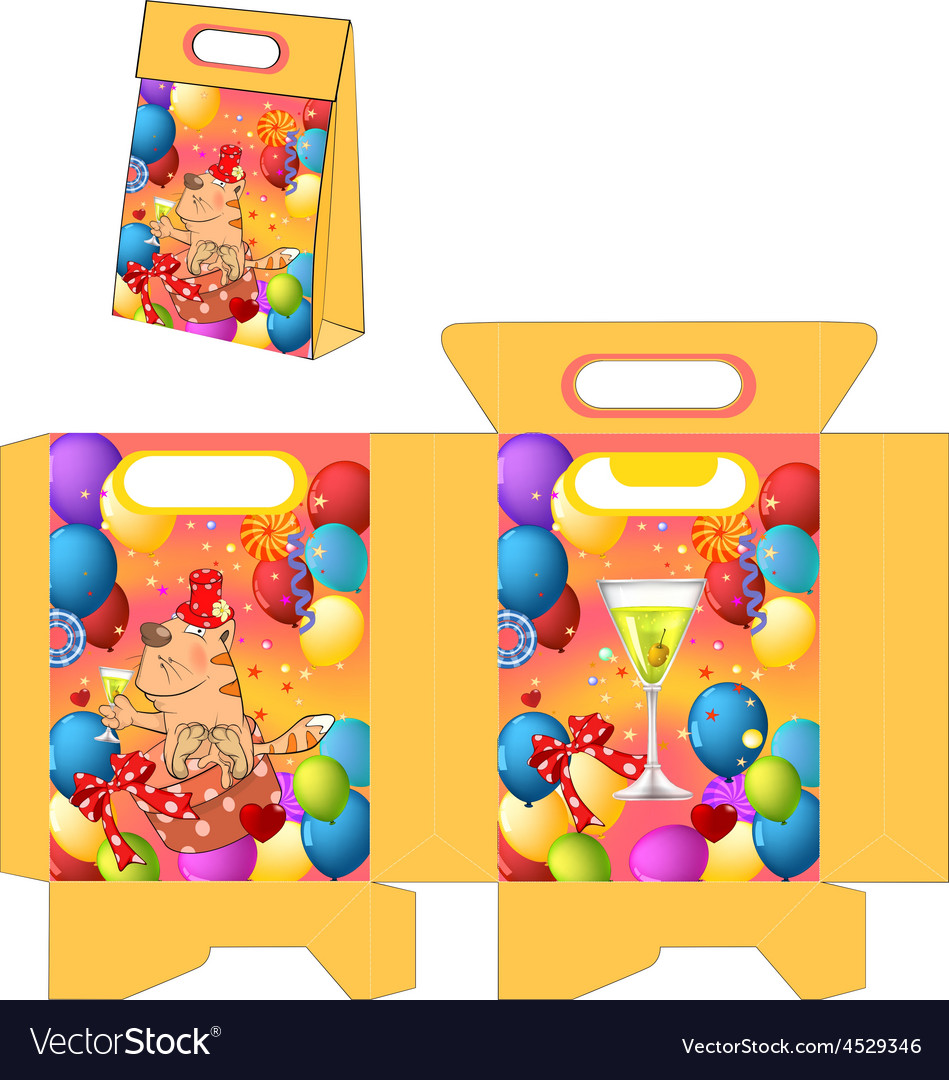 Cat and champagne handbags packages pattern vector | Price: 1 Credit (USD $1)
