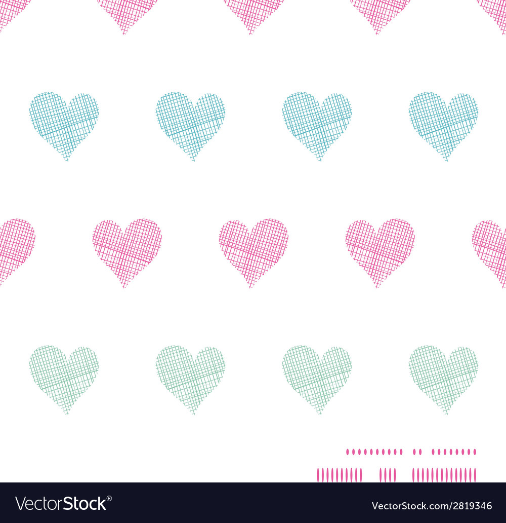 Colorful polka dot textile hearts horizontal frame vector | Price: 1 Credit (USD $1)