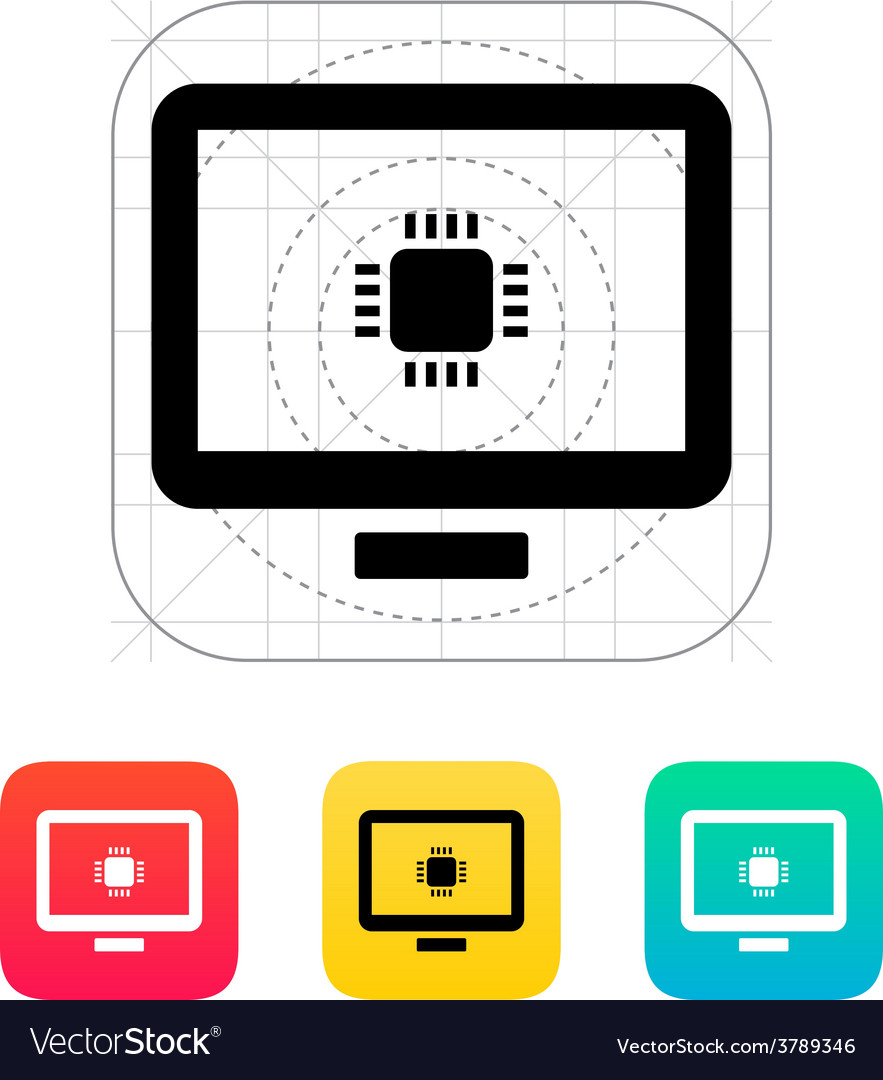 Computer cpu icon vector | Price: 1 Credit (USD $1)