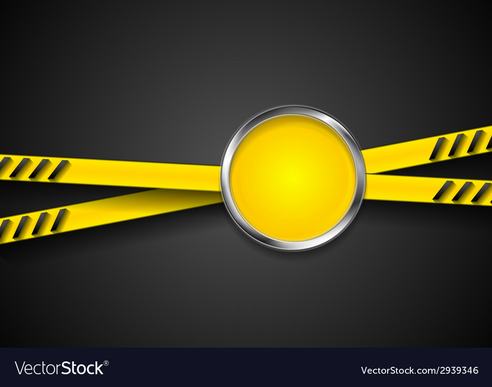 Danger tape abstract background with metal circle vector | Price: 1 Credit (USD $1)