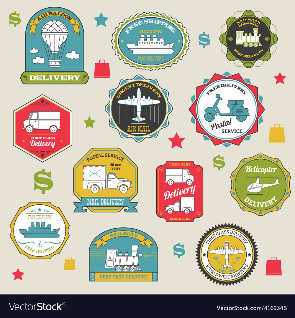 Delivery emblems colored vector | Price: 1 Credit (USD $1)