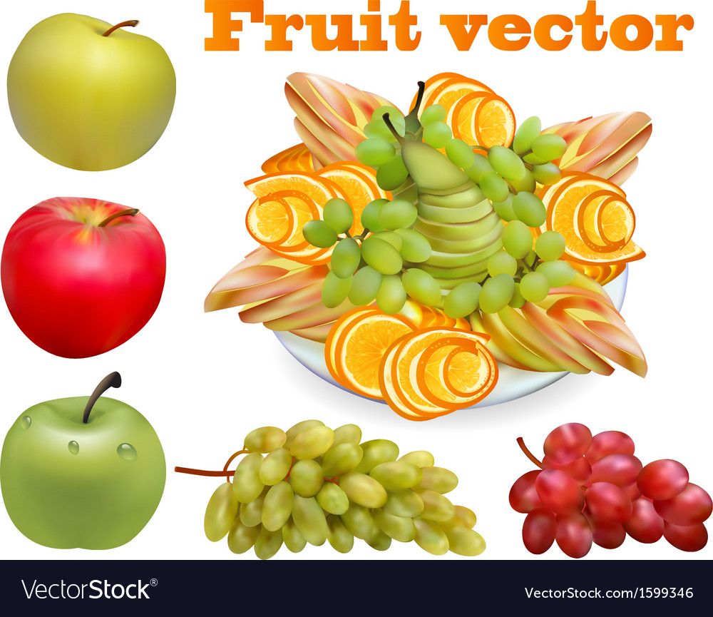 Fruit chopped pear grape apple vector | Price: 1 Credit (USD $1)