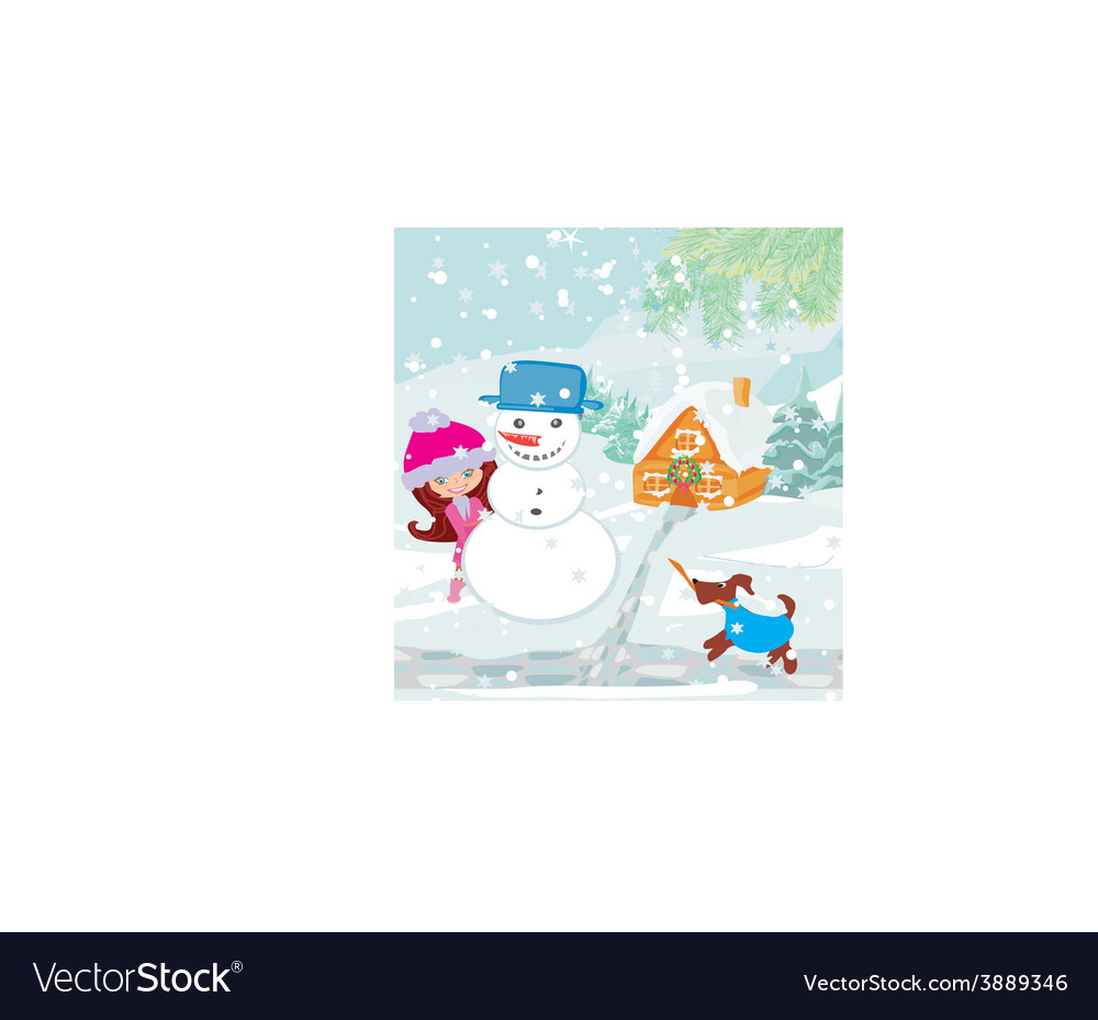 Little girl building snowman vector | Price: 1 Credit (USD $1)