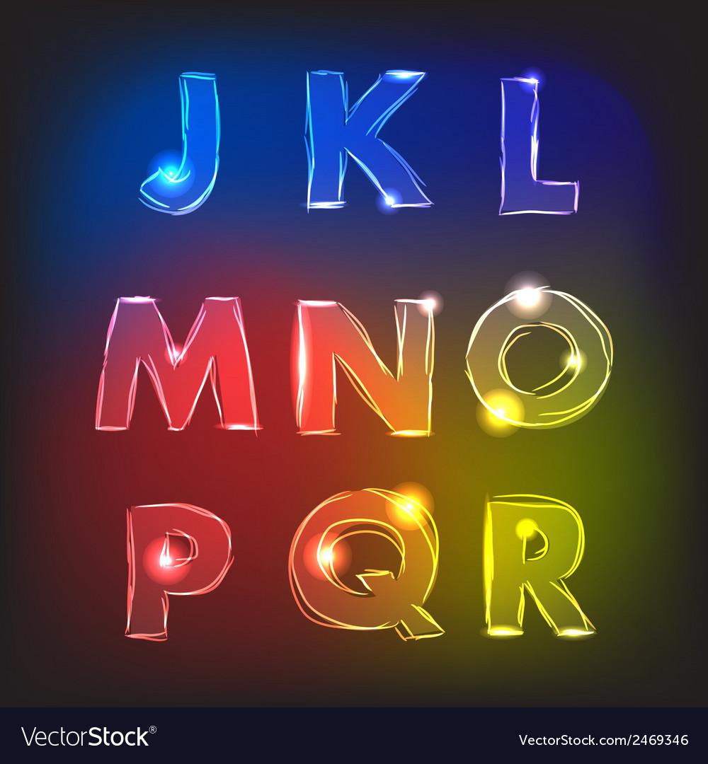 Neon glow alphabet vector | Price: 1 Credit (USD $1)