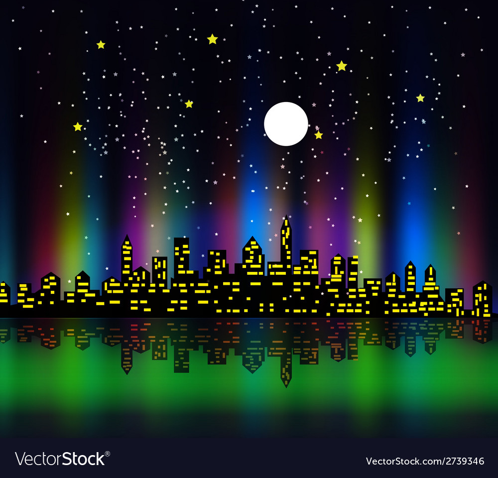 Night silhouette colourful vector | Price: 1 Credit (USD $1)