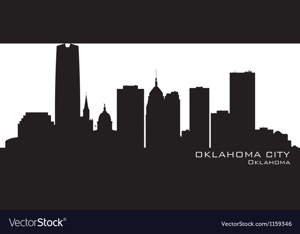Oklahoma city skyline detailed silhouette vector | Price: 1 Credit (USD $1)