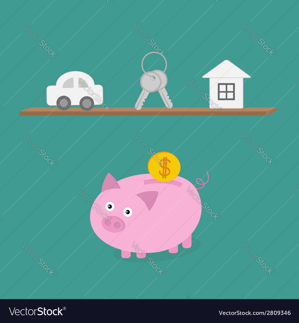 Piggy bank an shelf with car key house flat design vector | Price: 1 Credit (USD $1)
