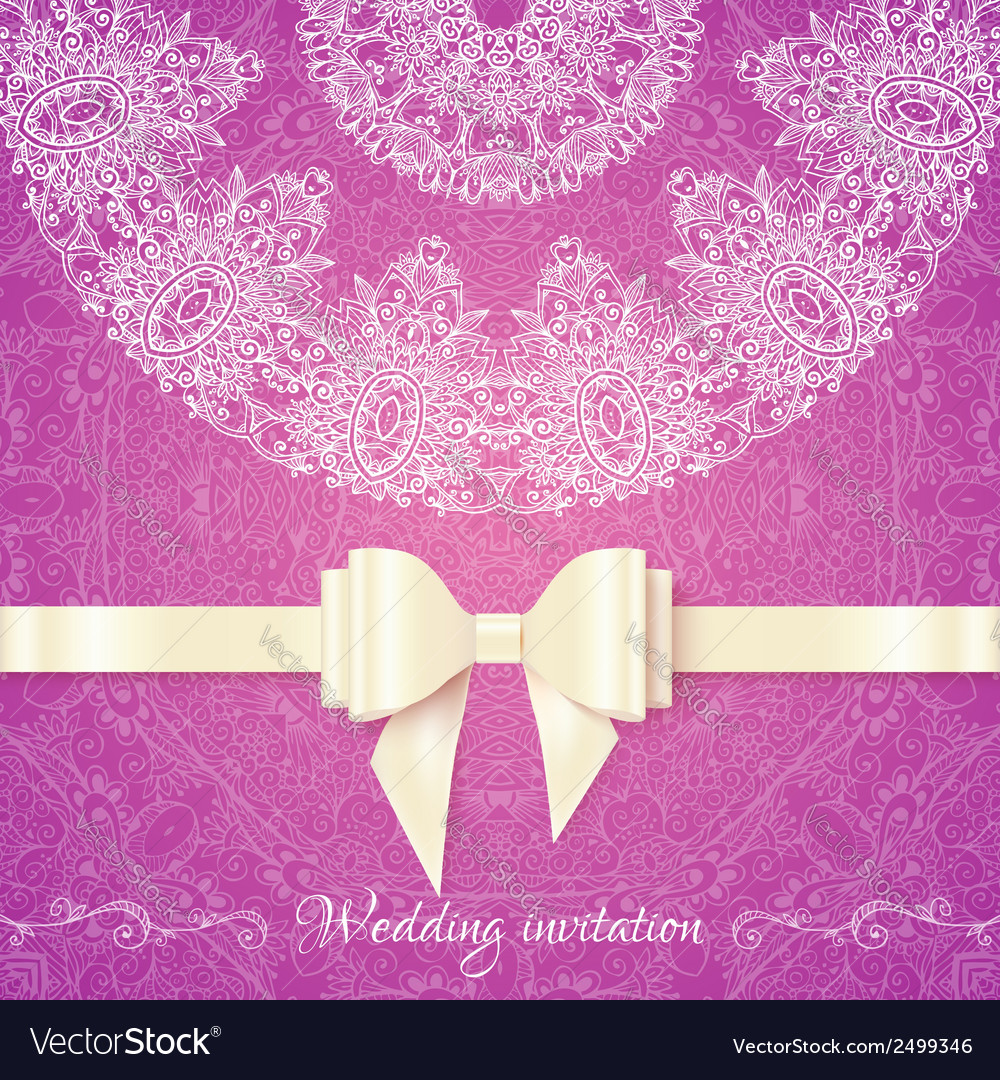 Pink romantic vintage wedding invitation vector | Price: 1 Credit (USD $1)