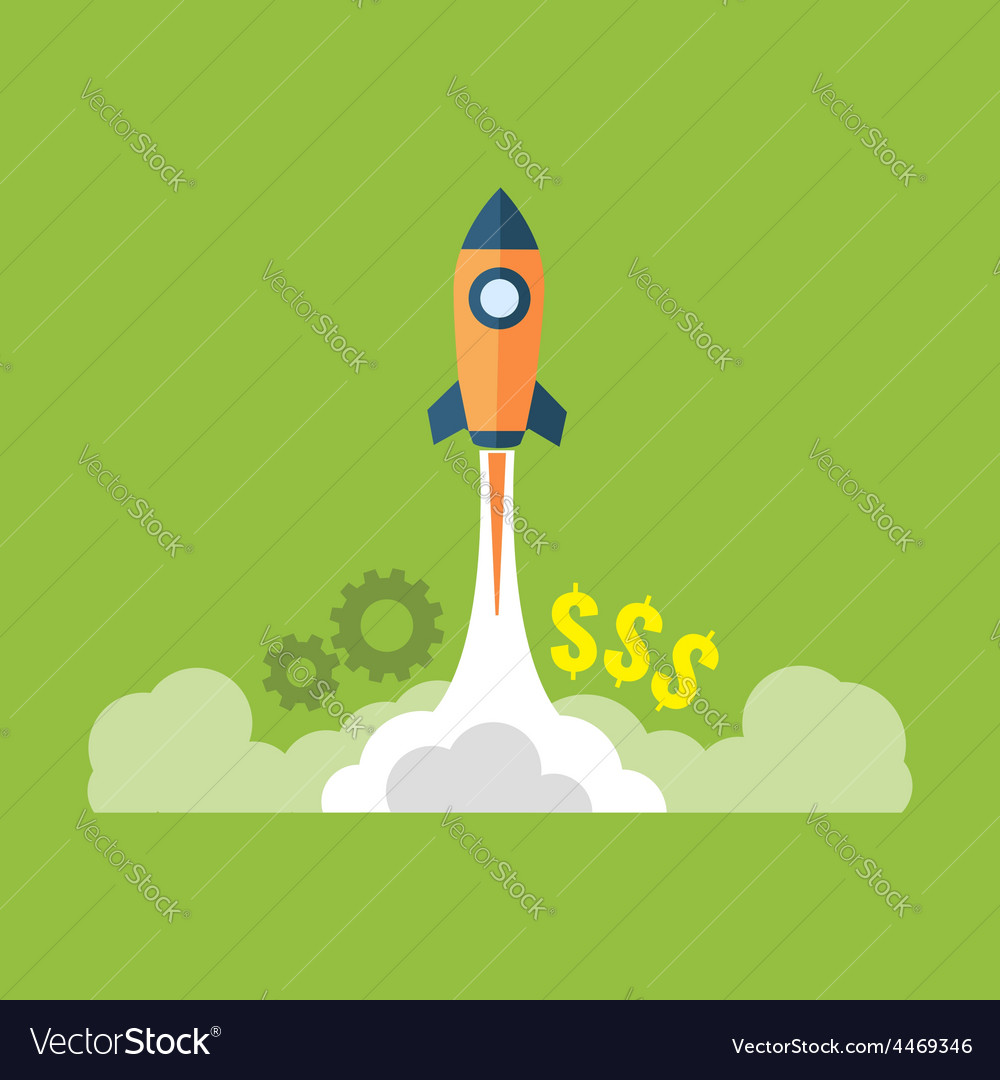 Startup launching new business concept flat design vector | Price: 1 Credit (USD $1)
