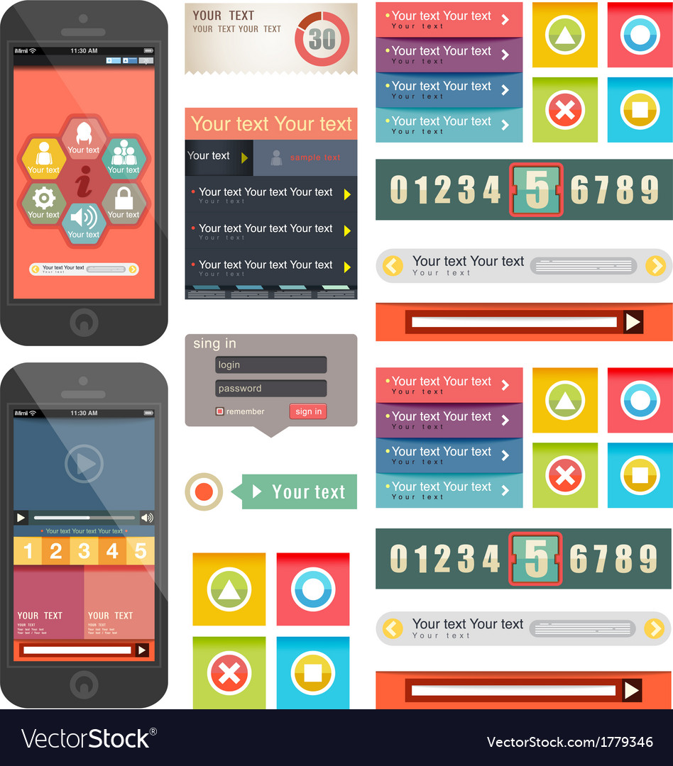 Ui flat design web elements components vector | Price: 1 Credit (USD $1)