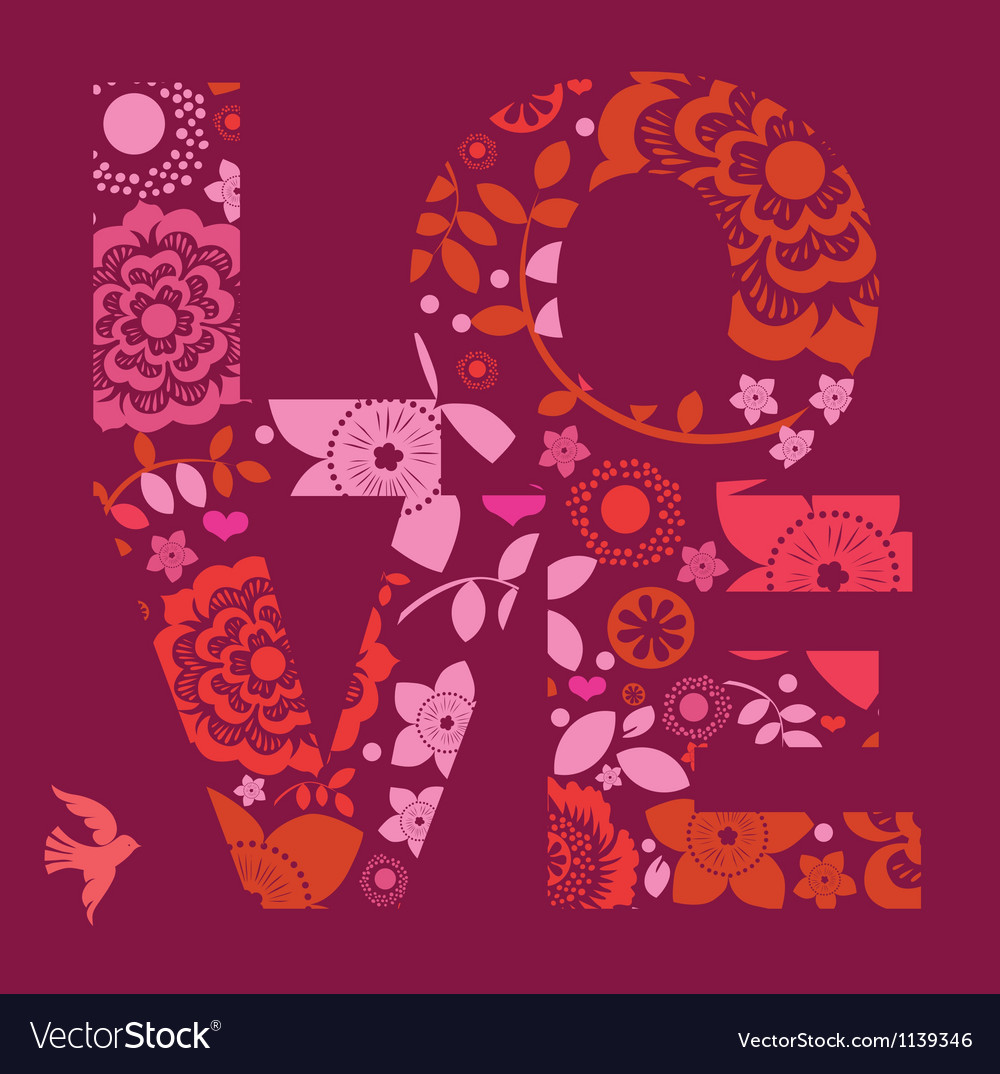 Valentine day love message floral vector | Price: 1 Credit (USD $1)