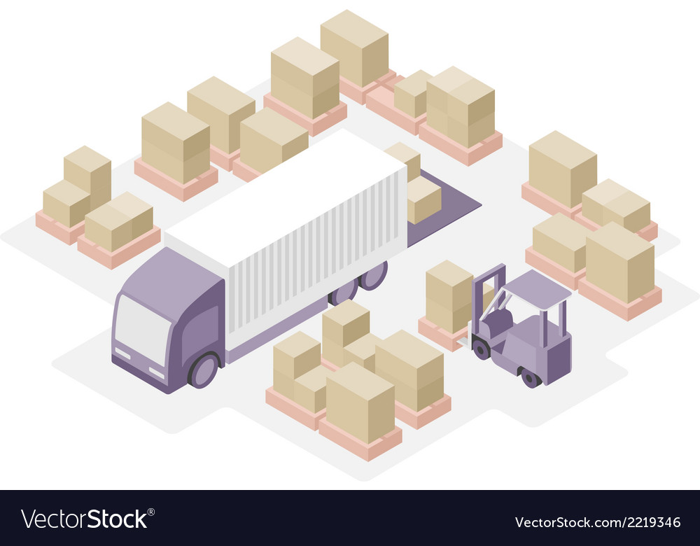Warehouse distribution center vector | Price: 1 Credit (USD $1)