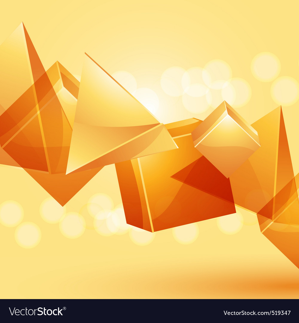 3d glass pyramids and cubes vector