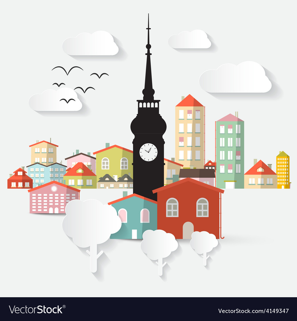 Abstract paper cut flat design town with tow vector | Price: 1 Credit (USD $1)