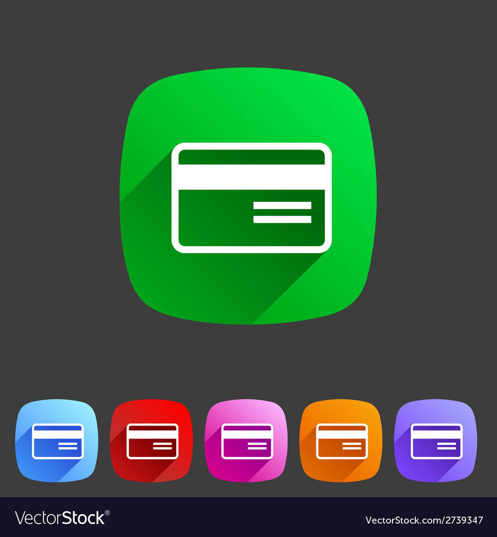 Bank credit card flat icon vector | Price: 1 Credit (USD $1)