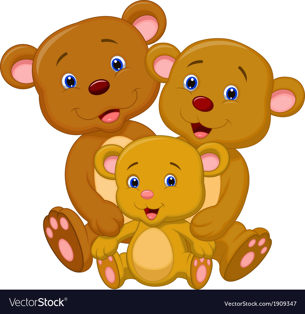 Bear family cartoon vector | Price: 1 Credit (USD $1)