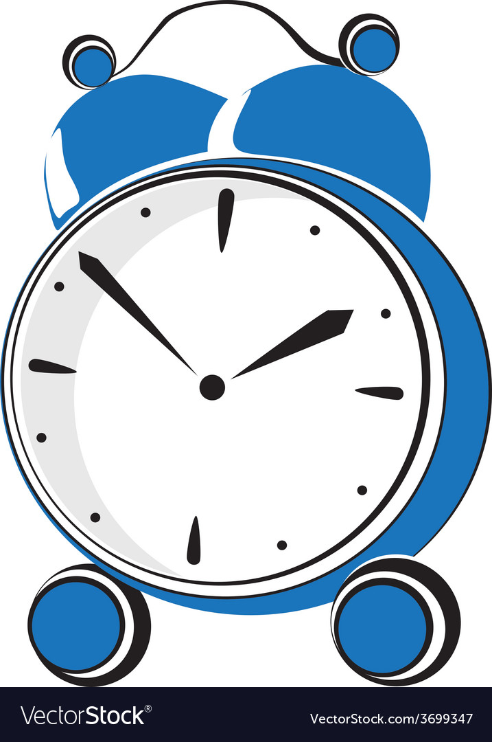 Blue retro alarm clock vector | Price: 1 Credit (USD $1)