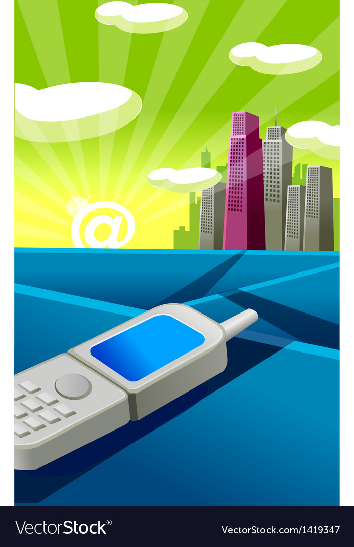 Cell phone city skyline vector | Price: 1 Credit (USD $1)
