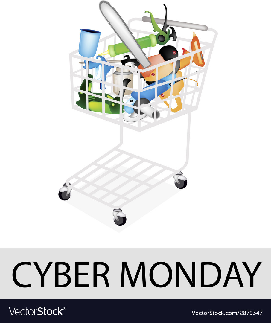 Craft tools in cyber monday shopping cart vector | Price: 1 Credit (USD $1)