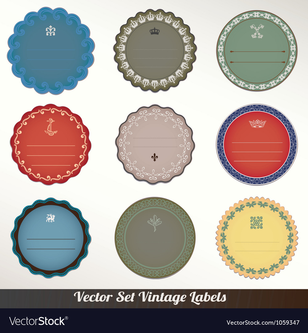 Frame labels set ornamental vintage decorat vector | Price: 1 Credit (USD $1)