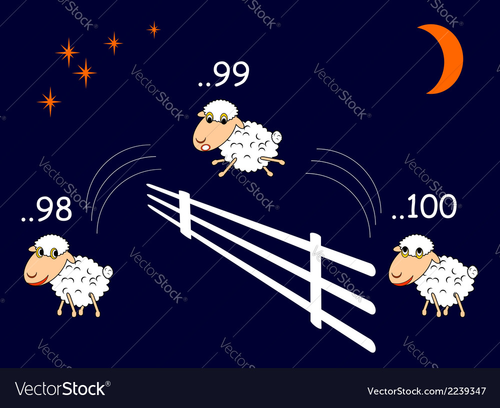 Funny cartoon sheep jumping through the fence vector | Price: 1 Credit (USD $1)