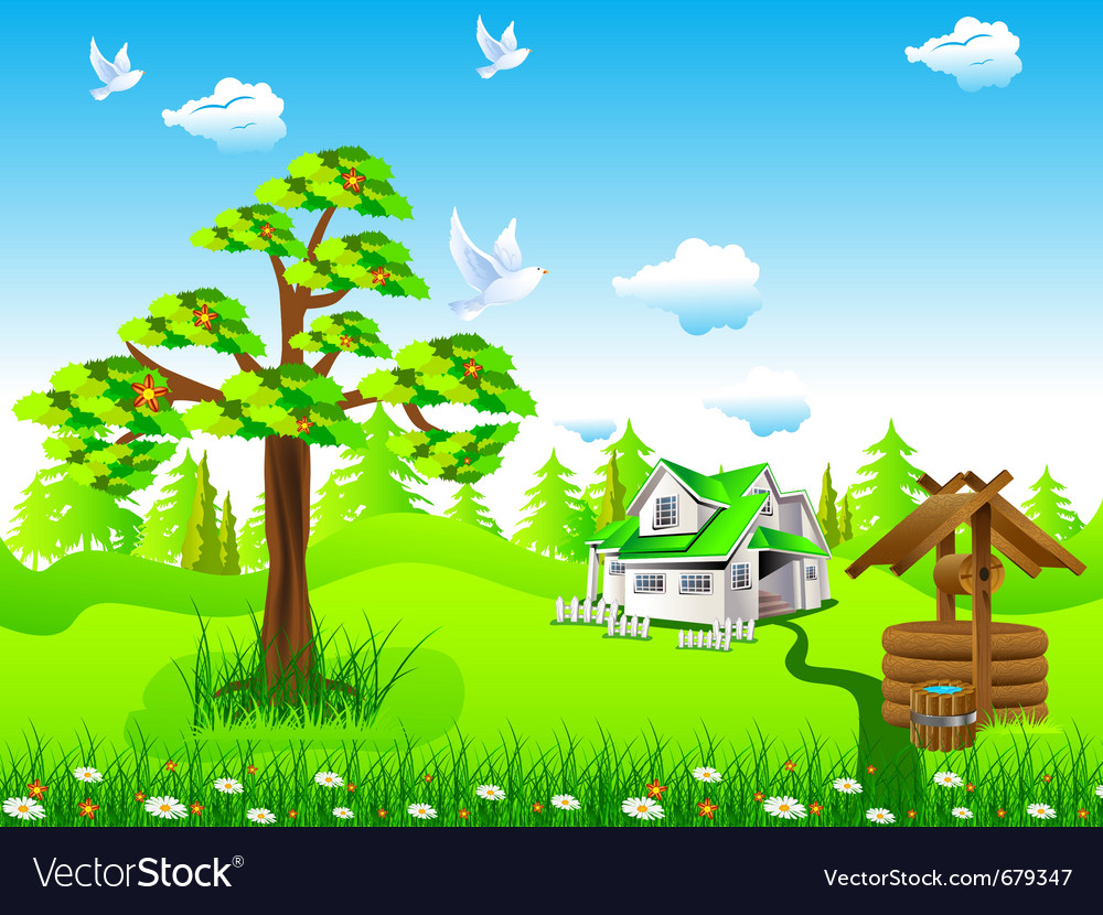 House in field vector | Price: 3 Credit (USD $3)
