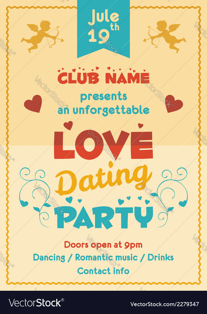 Love dating party flyer vector | Price: 1 Credit (USD $1)