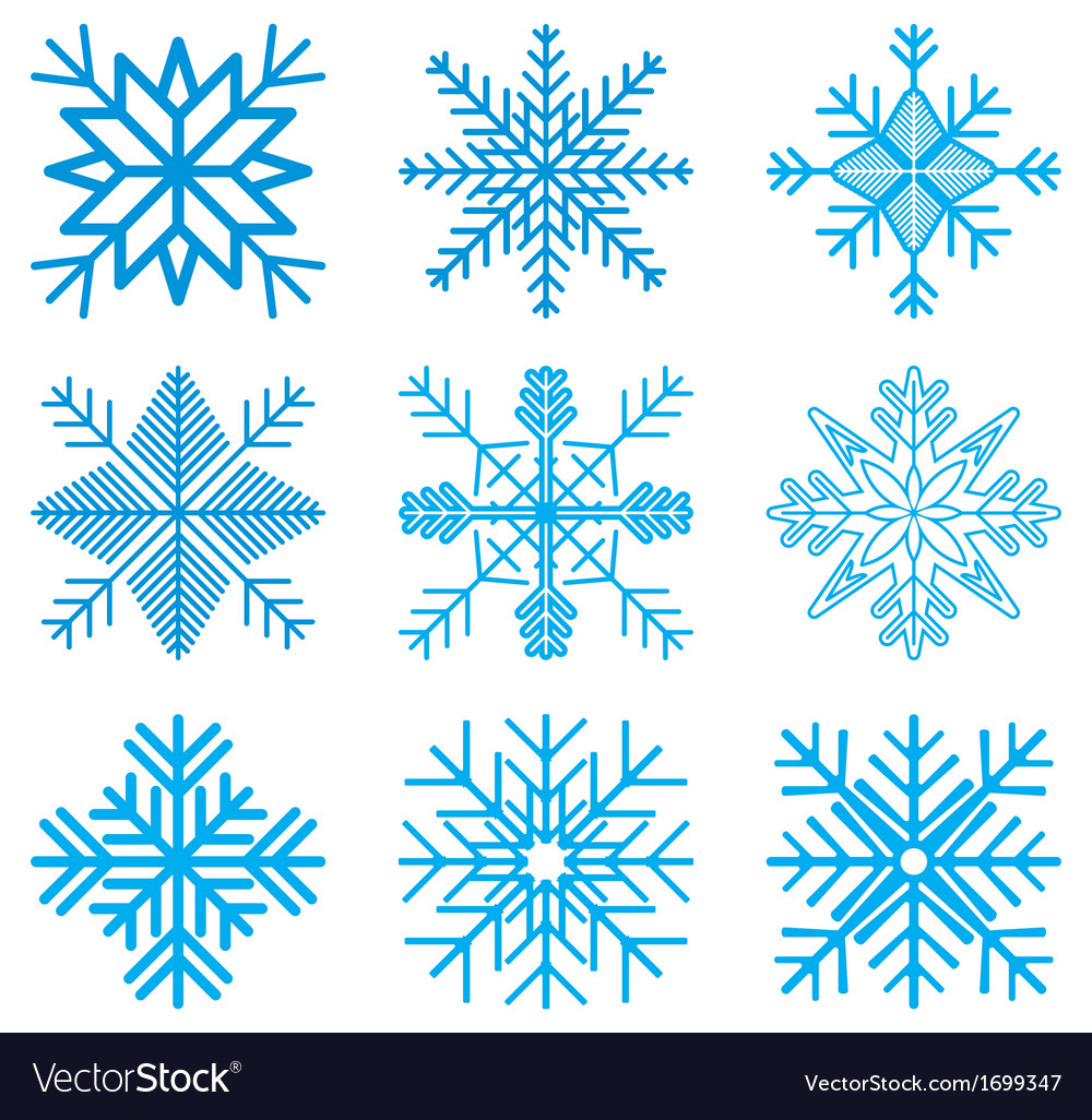 Nine original snow-flakes vector | Price: 1 Credit (USD $1)
