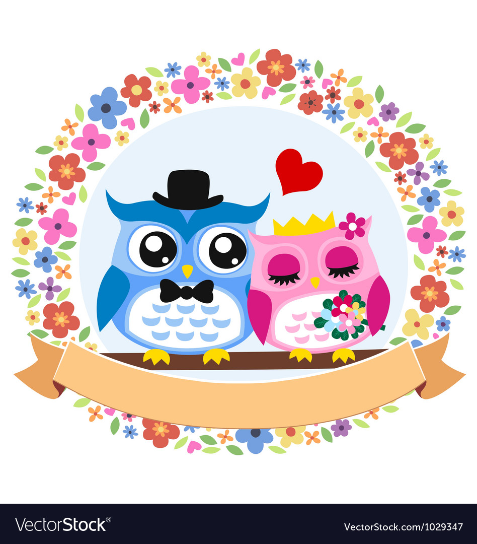 Owl floral wedding card vector | Price: 1 Credit (USD $1)