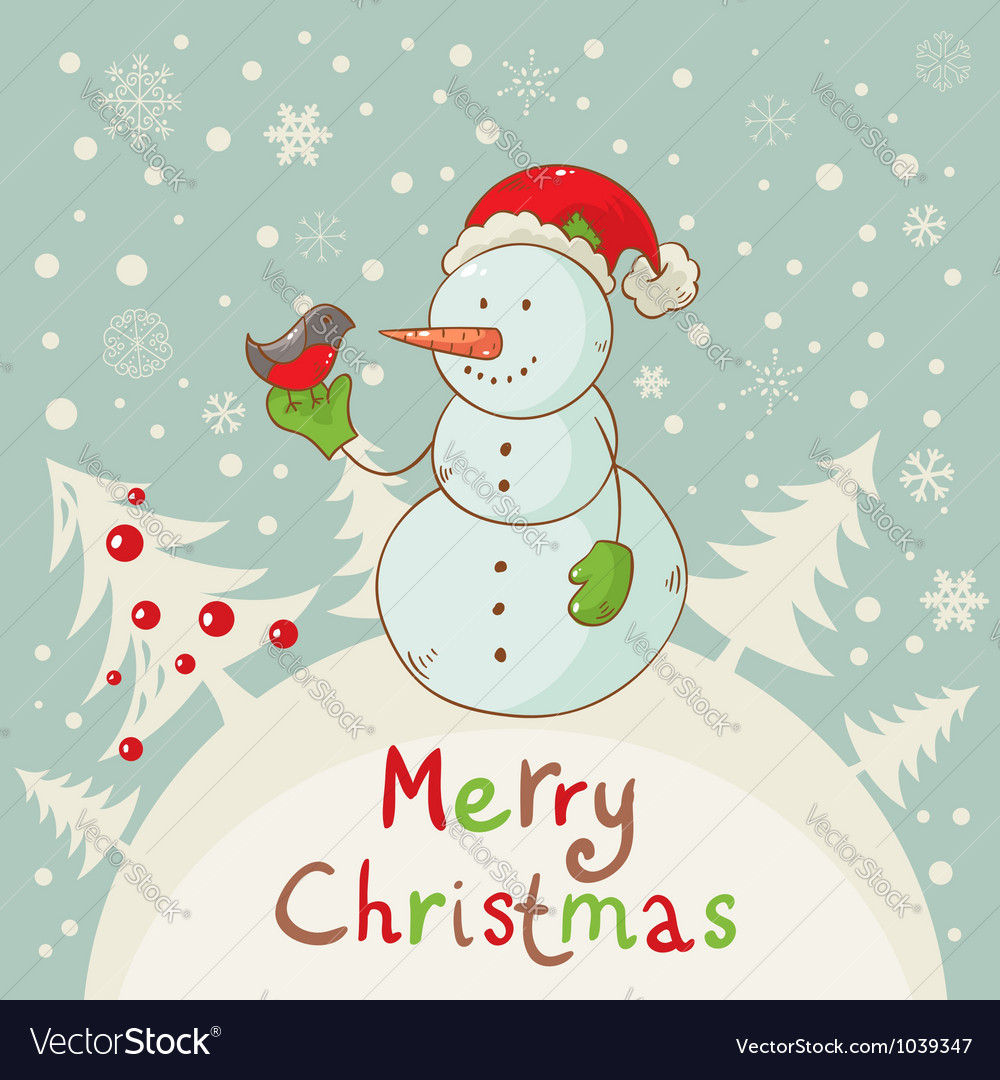 Snowman christmas card vector | Price: 1 Credit (USD $1)