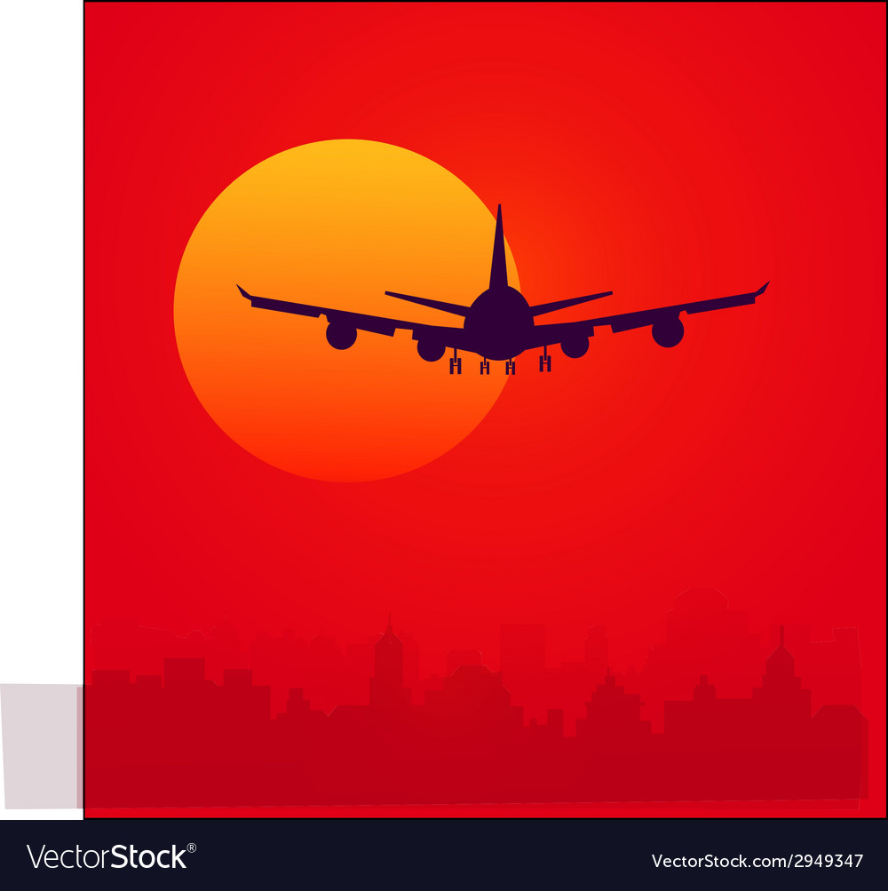 Sunset and air plane vector | Price: 1 Credit (USD $1)
