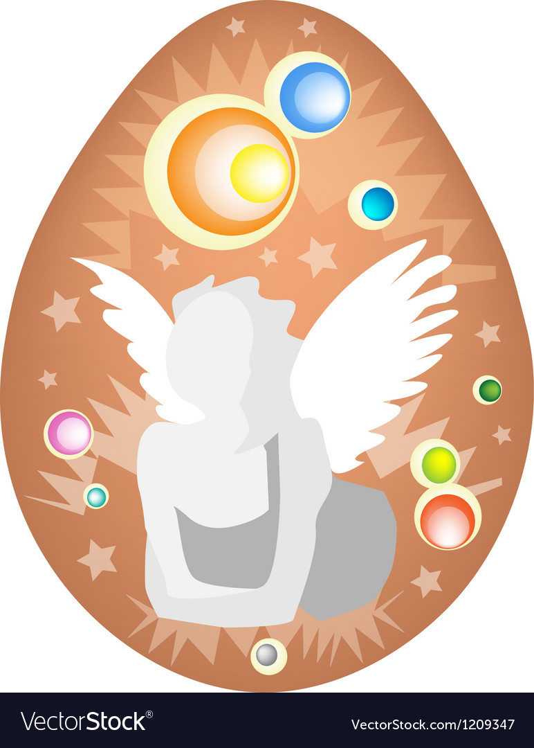 White angel painted on easter egg vector | Price: 1 Credit (USD $1)