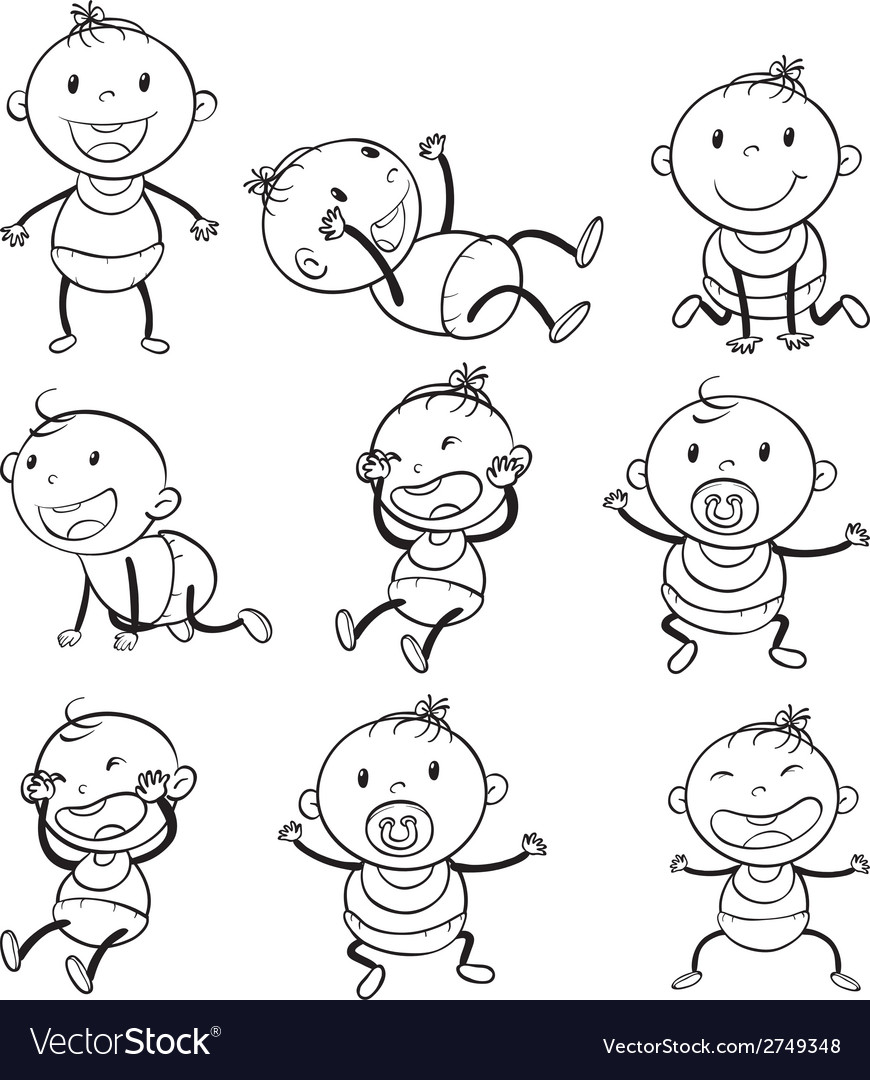 Babies with different moods vector | Price: 1 Credit (USD $1)