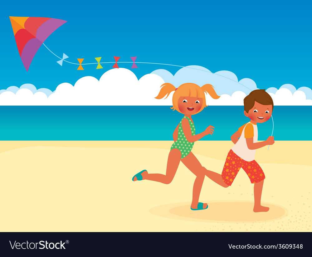 Children running with a kite on the beach vector | Price: 1 Credit (USD $1)