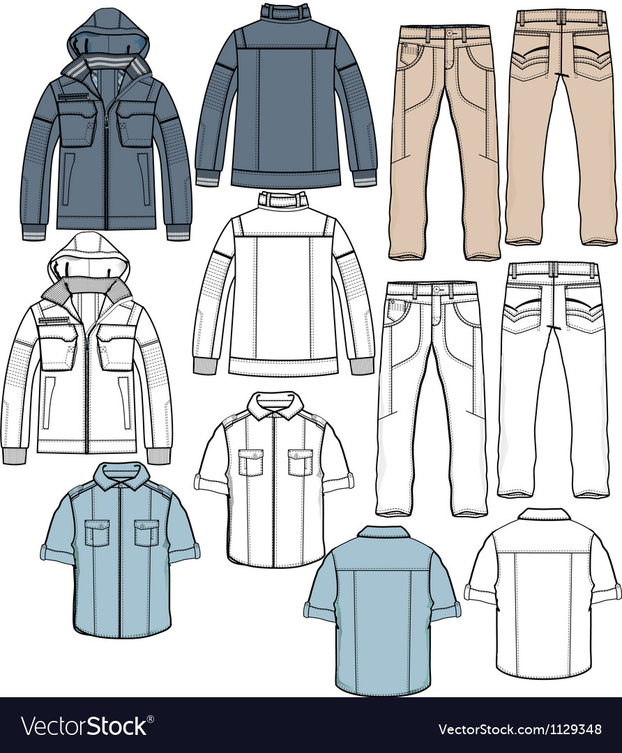 Jacket pants shirt apparel sketch fashion man boy vector | Price: 1 Credit (USD $1)