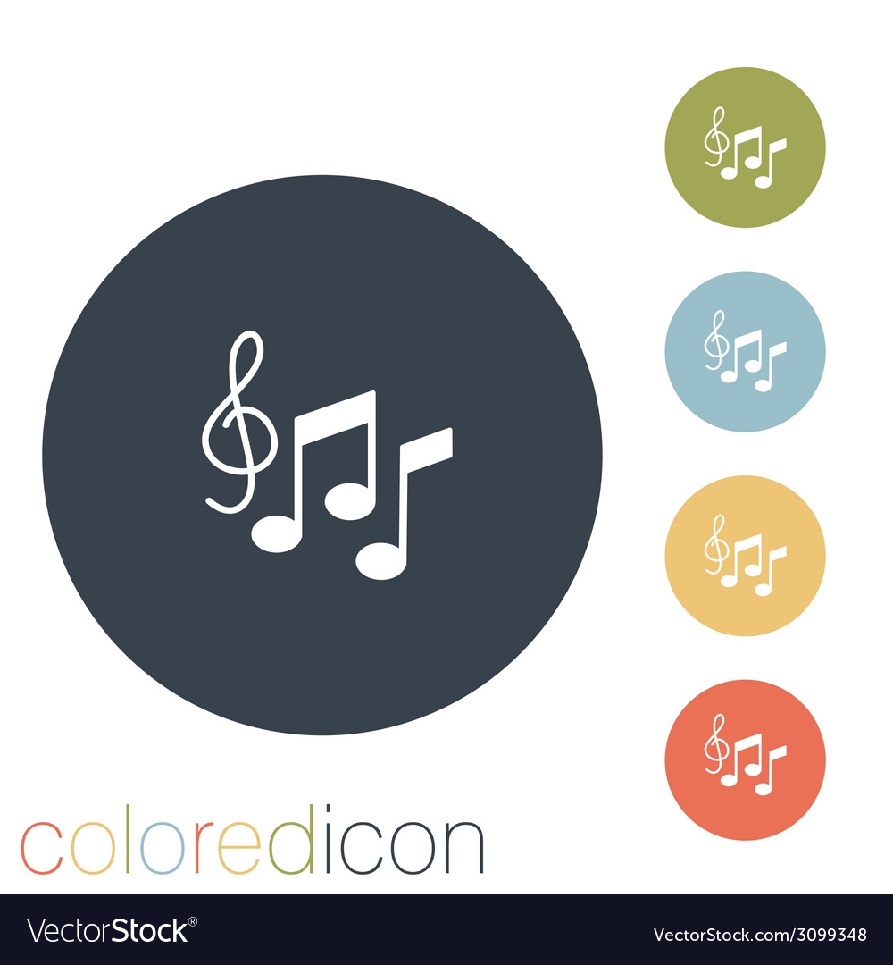 Musical notes and treble clef symbol muzykiki icon vector | Price: 1 Credit (USD $1)