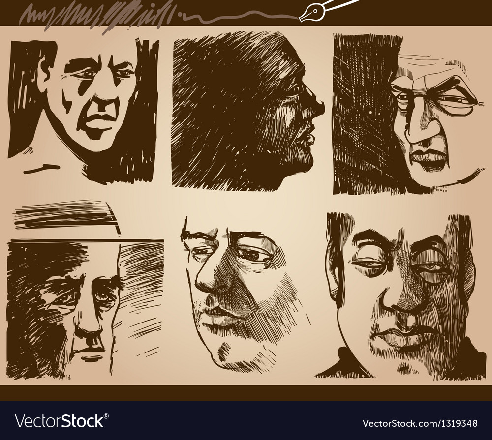 People faces artistic drawings set vector | Price: 1 Credit (USD $1)