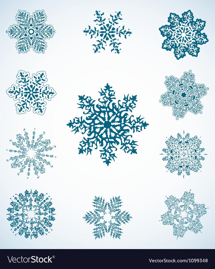 Snowflake set vector | Price: 1 Credit (USD $1)