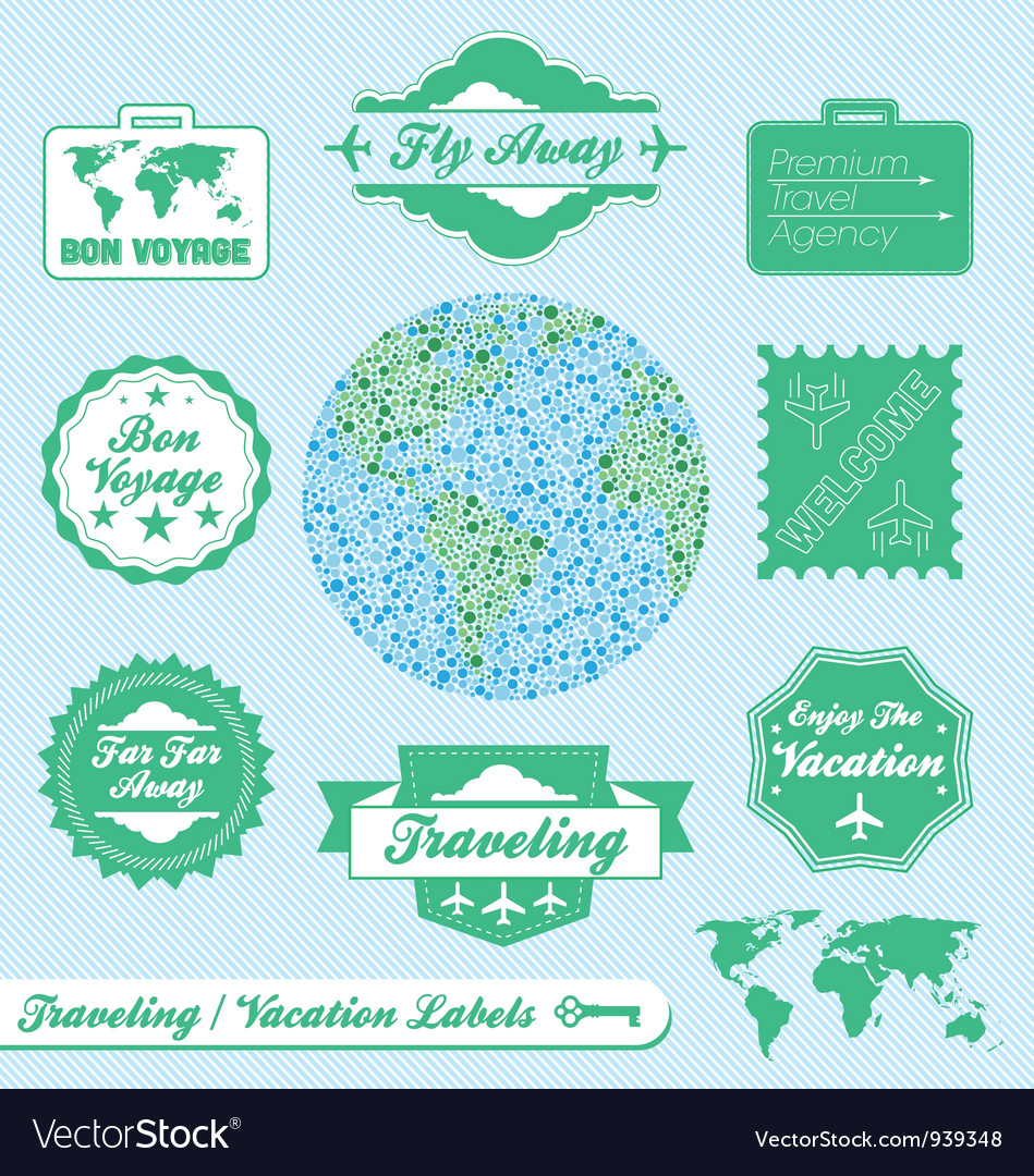 Travel agency labels vector | Price: 1 Credit (USD $1)